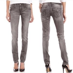 ROCK REVIVAL Celine Straight Leg Grey Jeans